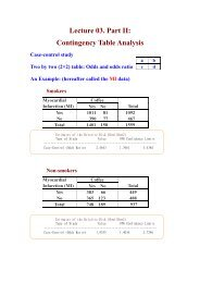 Lecture 03. Part II: Contingency Table Analysis