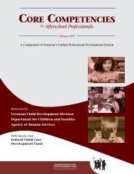 CORE COMPETENCIES - Vermont Center for Afterschool Excellence