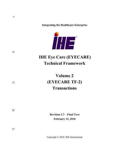 IHE Eye Care Technical Framework Vol 2