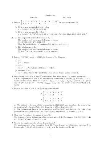 Handout#6 Math 545 Fall, 2010 1. Let α = [ 1 2 3 4 5 6 7 8 9 10 11 ...