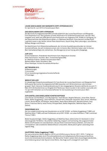 Jurybericht AC-Stipendium 2013 (pdf, 187 KB) - Bernische ...
