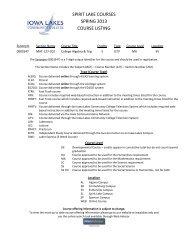 spirit lake courses spring 2013 course listing - Iowa Lakes ...