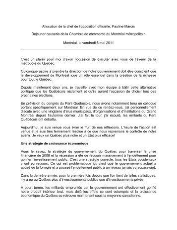 Notes pour une allocution du Chef du Bloc Québécois à l'occasion de