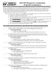 2013-2014 Request for Consideration of Special ... - Carroll University