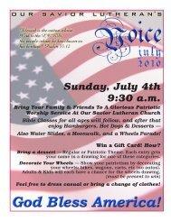 Sunday, July 4th 9:30 a.m. - Our Savior Lutheran Church