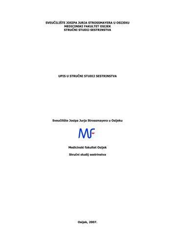 Vodič za studente - Studij Sestrinstva 2007 - Medicinski fakultet ...