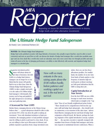 The Ultimate Hedge Fund Salesperson - 3PM - Third Party ...