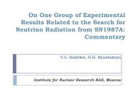 On One Group of Experimental Results Related to the Search for ...