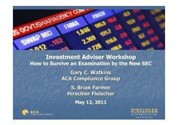 Investment Adviser Workshop - Hirschler Fleischer