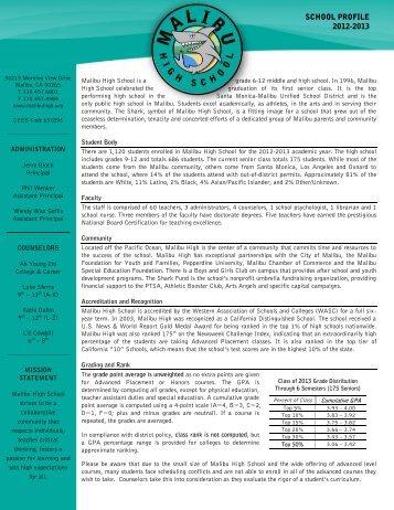 SCHOOL PROFILE 2012-2013 - Malibu High School