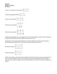 Math 80 Chapter 3 Review Ms. Meier 1) Is (3, -5) a solution to the ...