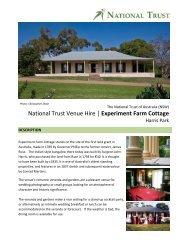 National Trust Venue Hire   Experiment Farm Cottage - NSW