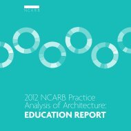 2012 NCARB Practice Analysis of Architecture: Education Report