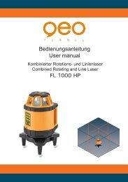 Bedienungsanleitung User manual FL 1000 HP - geo-FENNEL GmbH