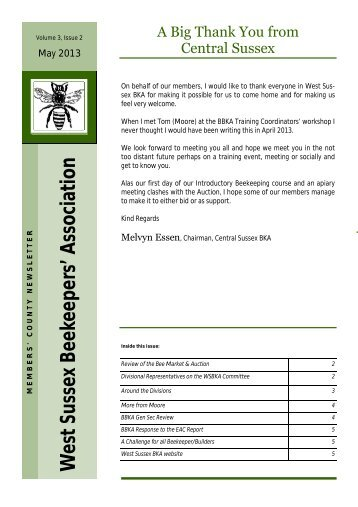 West Sussex Newsletter May 2013 - British Beekeepers Association