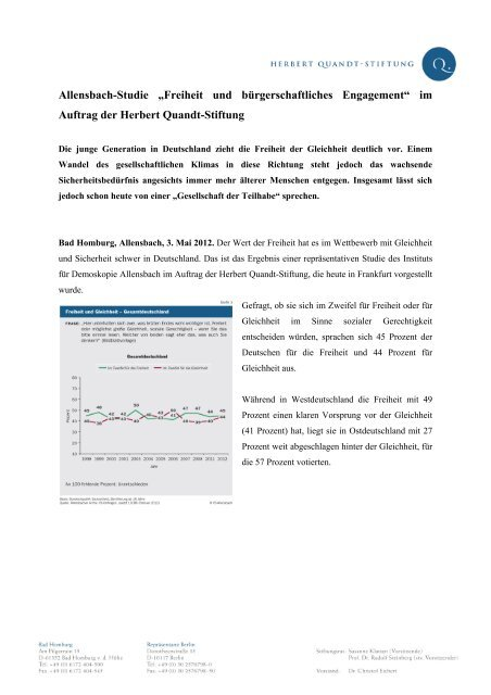 Freiheit und bürgerschaftliches Engagement - Herbert-Quandt-Stiftung