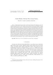 Global Models of Surface Wave Group Velocity - Department of ...