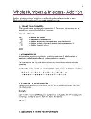 Whole Numbers & Integers - Addition - Watertraining.ca