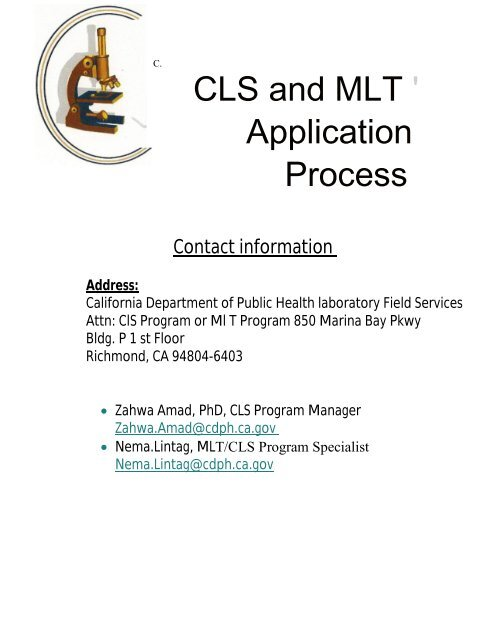 CLS and MLT ' Application Process - Pamet Northern California