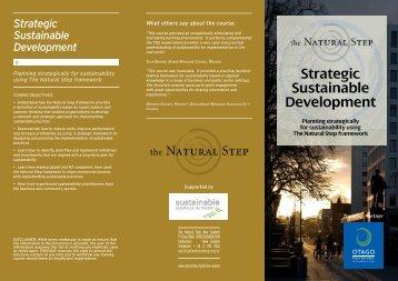 Strategic Sustainable Development - The Natural Step