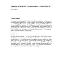 Mentoring: Konzeptuelle Grundlagen und Wirksamkeitsanalyse