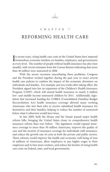ReFORMING HeALtH CARe - The White House