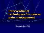 Interventional techniques for cancer pain management