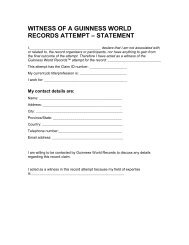 witness of a guinness world records attempt – statement