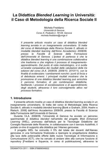 La Didattica Blended Learning in Università - DIDAMATICA 2011 ...