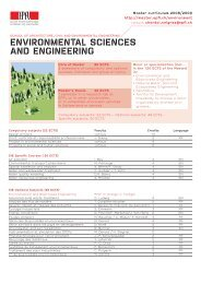 ENVIRONMENTAL SCIENCES AND ENGINEERING - Master | EPFL