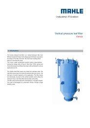 Vertical pressure leaf filter Versis - MAHLE Industry - Filtration