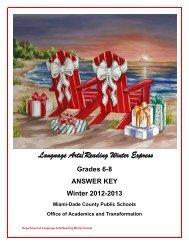 Grades 6-8 ANSWER KEY - Division of Language Arts/Reading