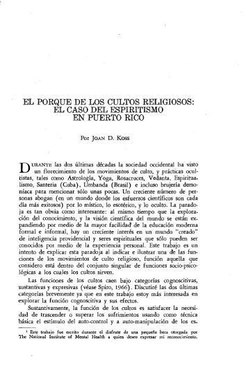 el porque de los cultos religiosos - Revista de Ciencias Sociales