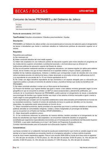 Concurso de becas PRONABES y del Gobierno ... - Becas - Universia