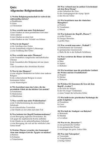 Quiz: Allgemeine Religionskunde (plus Lösung)