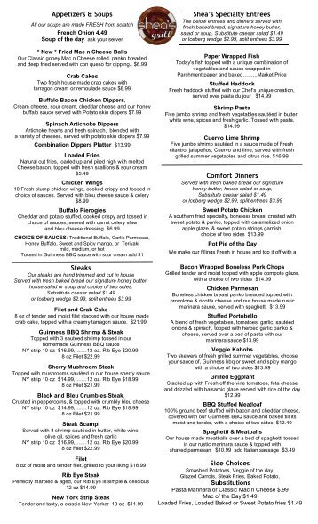 Appetizers & Soups Comfort Dinners Steaks Shea's Specialty ...