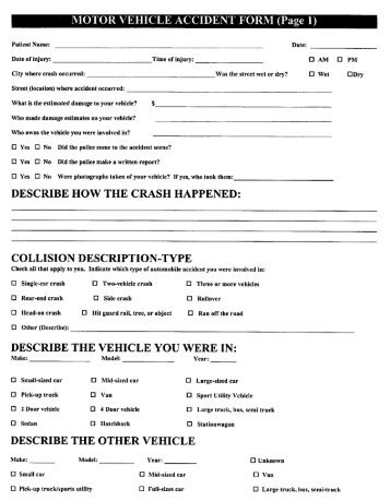 MOTOR VEHICLE ACCIDENT FORM (Page 1)