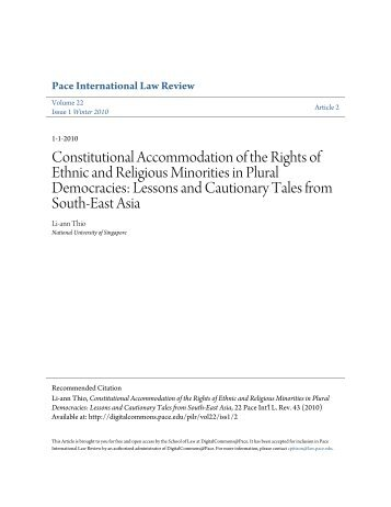 Constitutional Accommodation of the Rights of Ethnic and Religiou