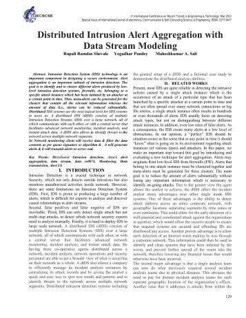 Distributed Intrusion Alert Aggregation with Data Stream Modeling