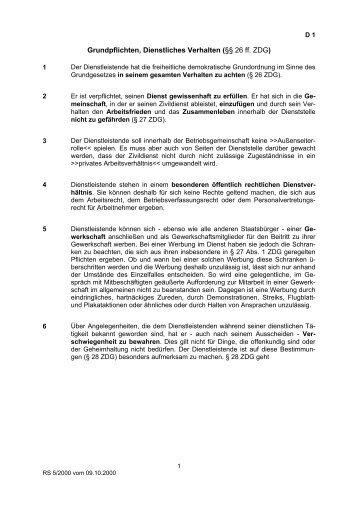 Grundpflichten, Dienstliches Verhalten (§§ 26 ff. ZDG)