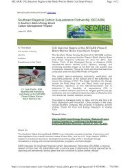 CO2 Injection Begins at the SECARB Phase II Black Warrior Basin ...