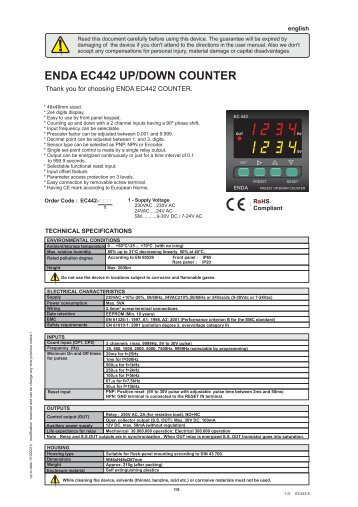 ENDA EC442 UP/DOWN COUNTER - SURAN Industrieelektronik