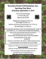Vermilion Parish 4-H Foundation, Inc. Sporting Clay Shoot Saturday ...
