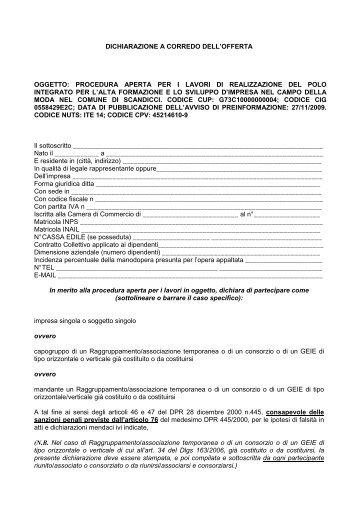 Modulo dichiarazioni - Comune di Scandicci