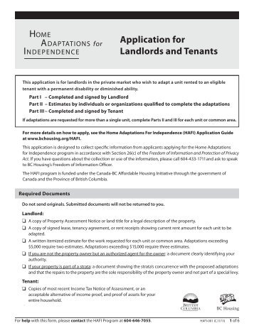 HAFI Application for Landlords and Tenants - BC Housing