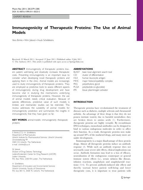 Immunogenicity of Therapeutic Proteins: The Use of ... - ResearchGate