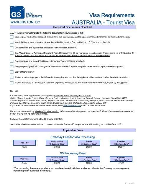 Visa Requirements Australia Tourist Visa G3 Visas Passports