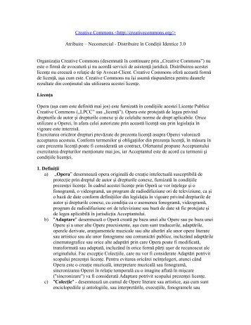 versiunea in limba romana a licentei CreativeCommons 3.0