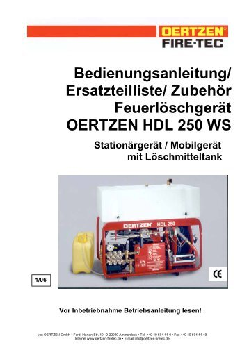 Ersatzteilliste/ Zubehör Feuerlöschgerät OERTZEN HDL 250 WS