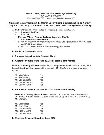 Board Meeting Minutes July 9, 2012 - Warren County Schools